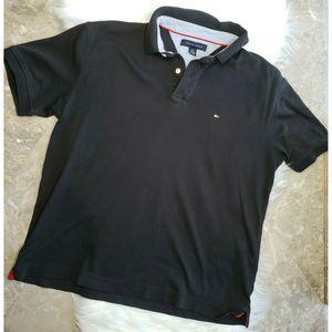 TOMMY HILFIGER Polo Shirt Black Short Sleeve Sz Lg
